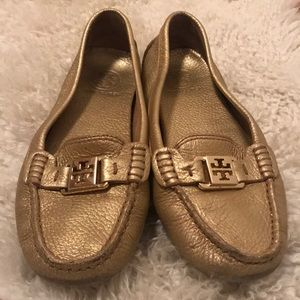 Gold Tory Burch driving loafers